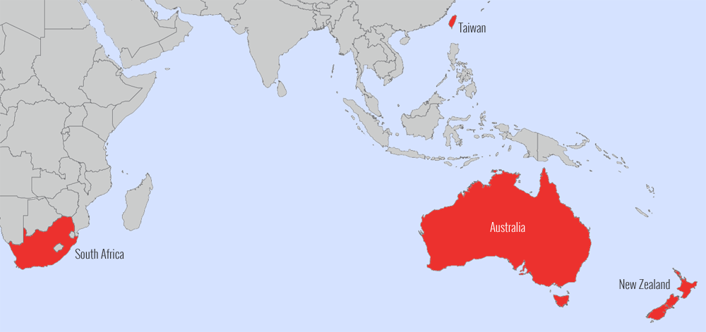International Trade And Export Pascoes Consumer Products Australia - World map highlighting australia